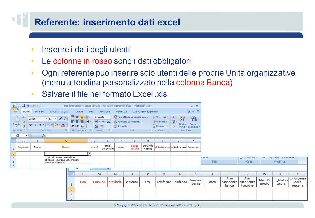 © Copyright 2009 ABIFORMAZIONE Divisione di ABISERVIZI S.p.A. Referente: inserimento dati excel Inserire i dati degli utenti Le colonne in rosso sono