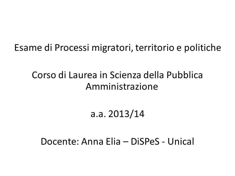 Esame di Processi migratori, territorio e politiche Corso di Laurea in Scienza della Pubblica Amministrazione a.a.
