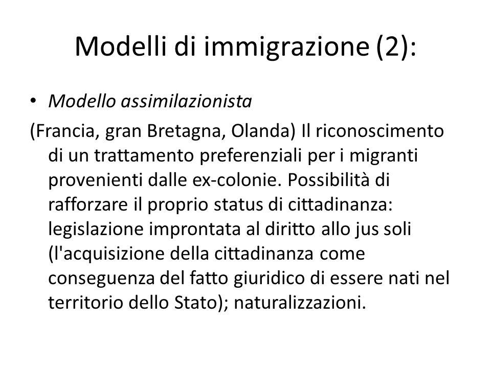 Modelli di immigrazione (2): Modello assimilazionista (Francia, gran Bretagna, Olanda) Il riconoscimento di un trattamento preferenziali per i migranti provenienti dalle ex-colonie.