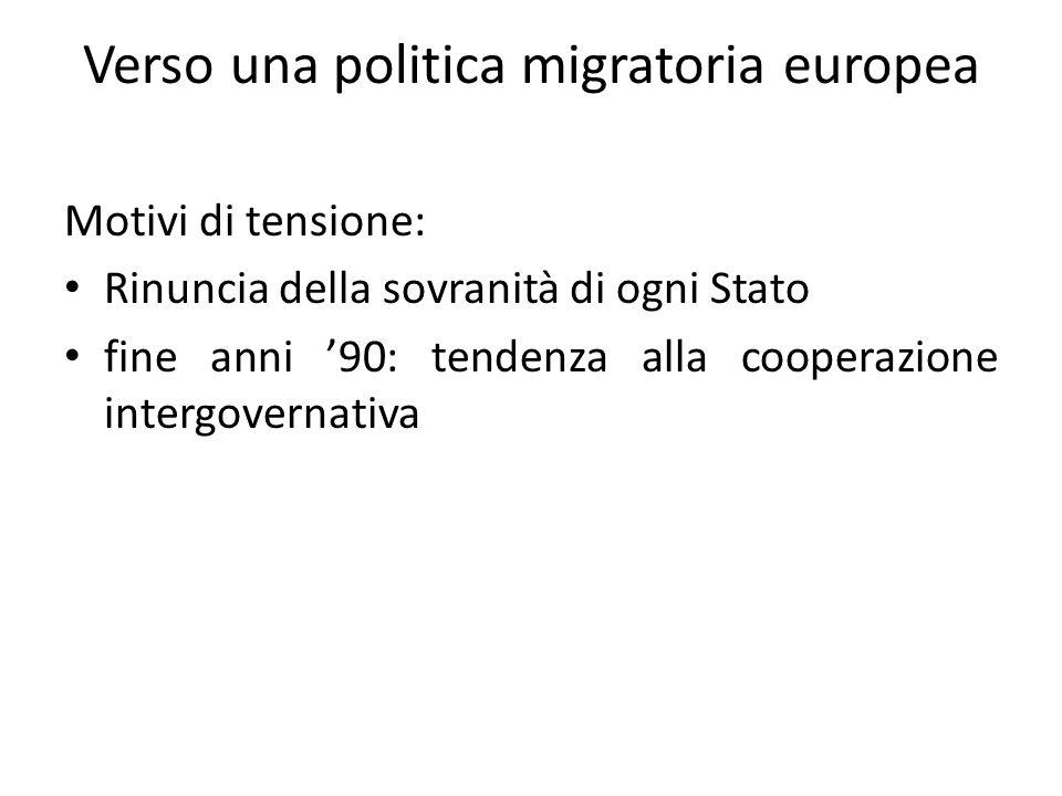 Verso una politica migratoria europea Motivi di tensione: Rinuncia della sovranità di ogni Stato fine anni '90: tendenza alla cooperazione intergovernativa