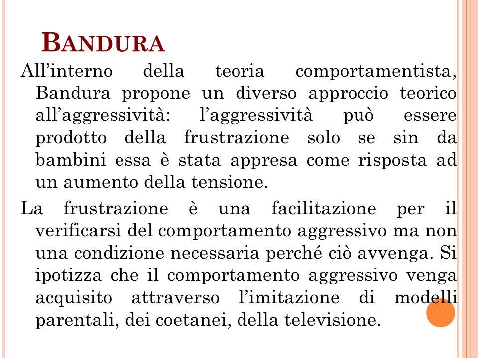 B ANDURA All'interno della teoria comportamentista, Bandura propone un diverso approccio teorico all'aggressività: l'aggressività può essere prodotto