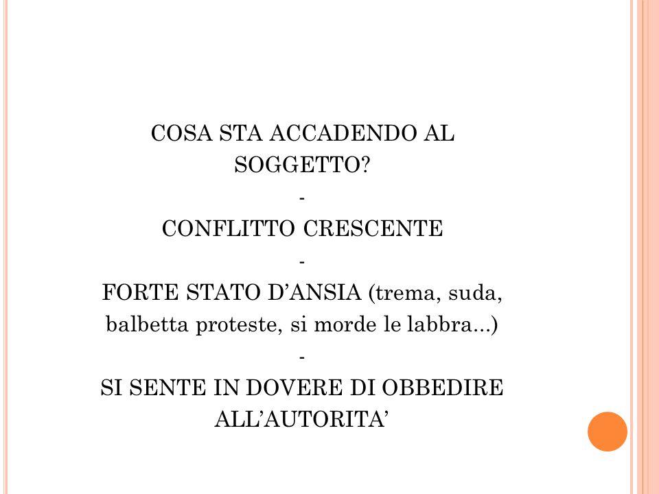 COSA STA ACCADENDO AL SOGGETTO? - CONFLITTO CRESCENTE - FORTE STATO D'ANSIA (trema, suda, balbetta proteste, si morde le labbra...) - SI SENTE IN DOVE
