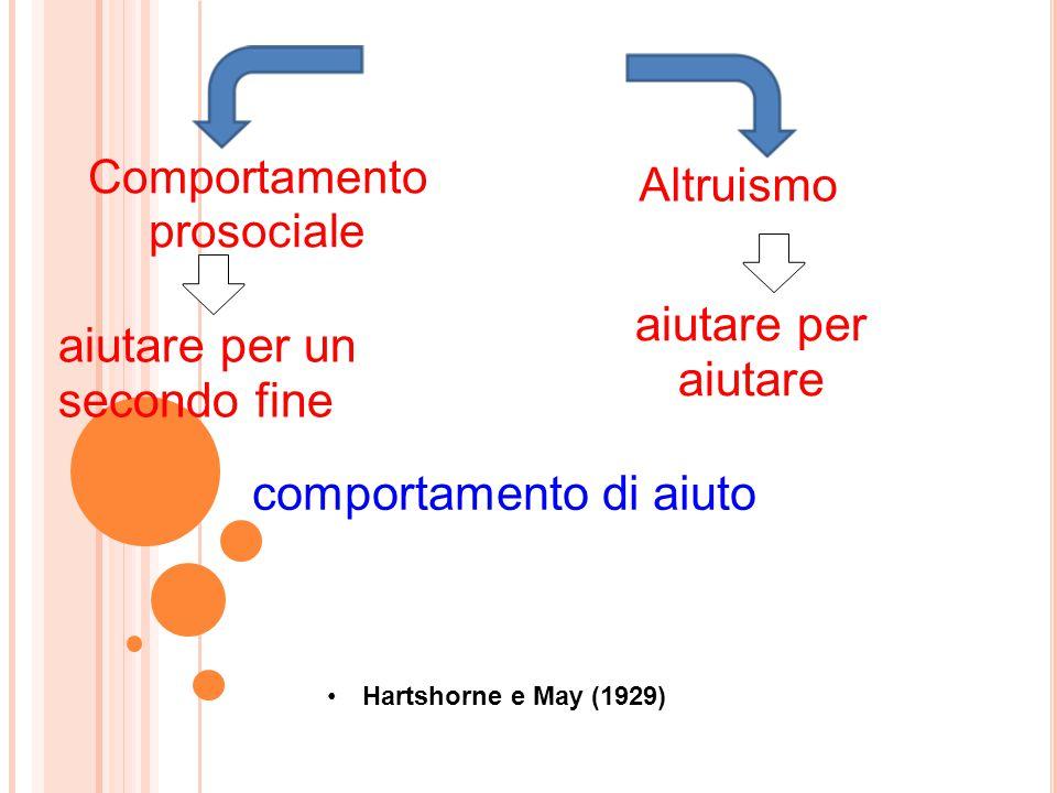 aiutare per un secondo fine aiutare per aiutare Hartshorne e May (1929) Comportamento prosociale Altruismo comportamento di aiuto