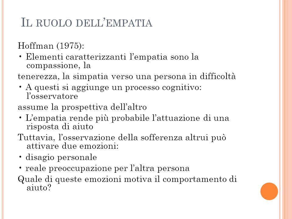 I L RUOLO DELL ' EMPATIA Hoffman (1975): Elementi caratterizzanti l'empatia sono la compassione, la tenerezza, la simpatia verso una persona in diffic