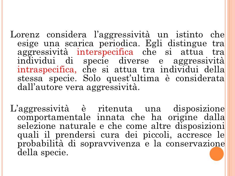 Lorenz considera l'aggressività un istinto che esige una scarica periodica. Egli distingue tra aggressività interspecifica che si attua tra individui