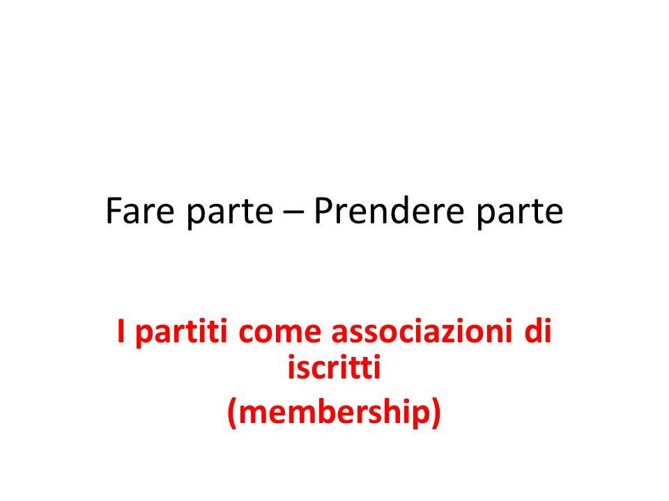 Fare parte – Prendere parte I partiti come associazioni di iscritti (membership)