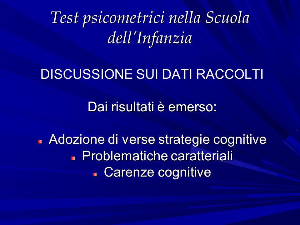 Test psicometrici nella Scuola dell'Infanzia DISCUSSIONE SUI DATI RACCOLTI Dai risultati è emerso: Adozione di verse strategie cognitive Problematiche