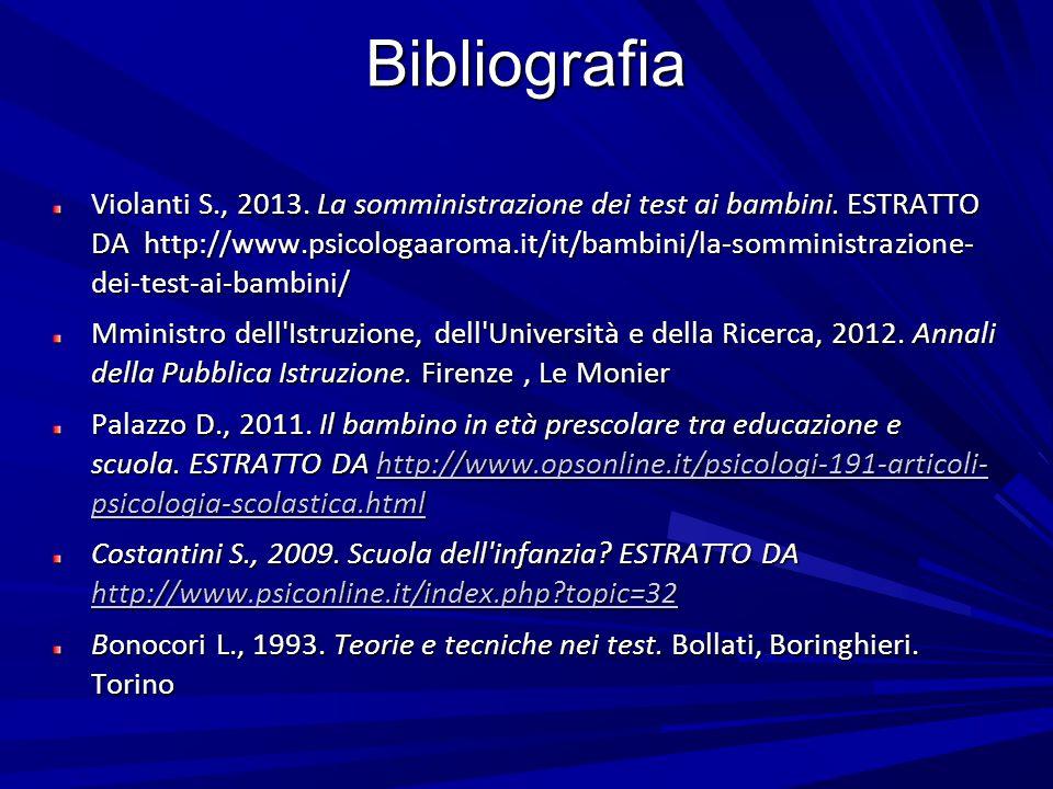Bibliografia Violanti S., 2013. La somministrazione dei test ai bambini. ESTRATTO DA http://www.psicologaaroma.it/it/bambini/la-somministrazione- dei-