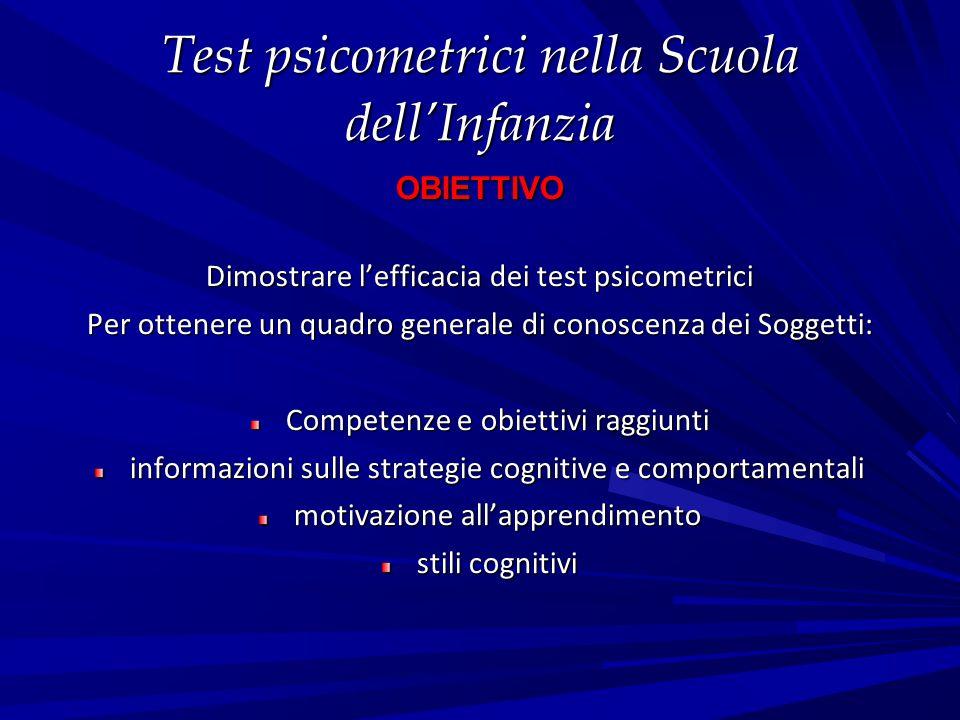 Test psicometrici nella Scuola dell'Infanzia OBIETTIVO Dimostrare l'efficacia dei test psicometrici Per ottenere un quadro generale di conoscenza dei