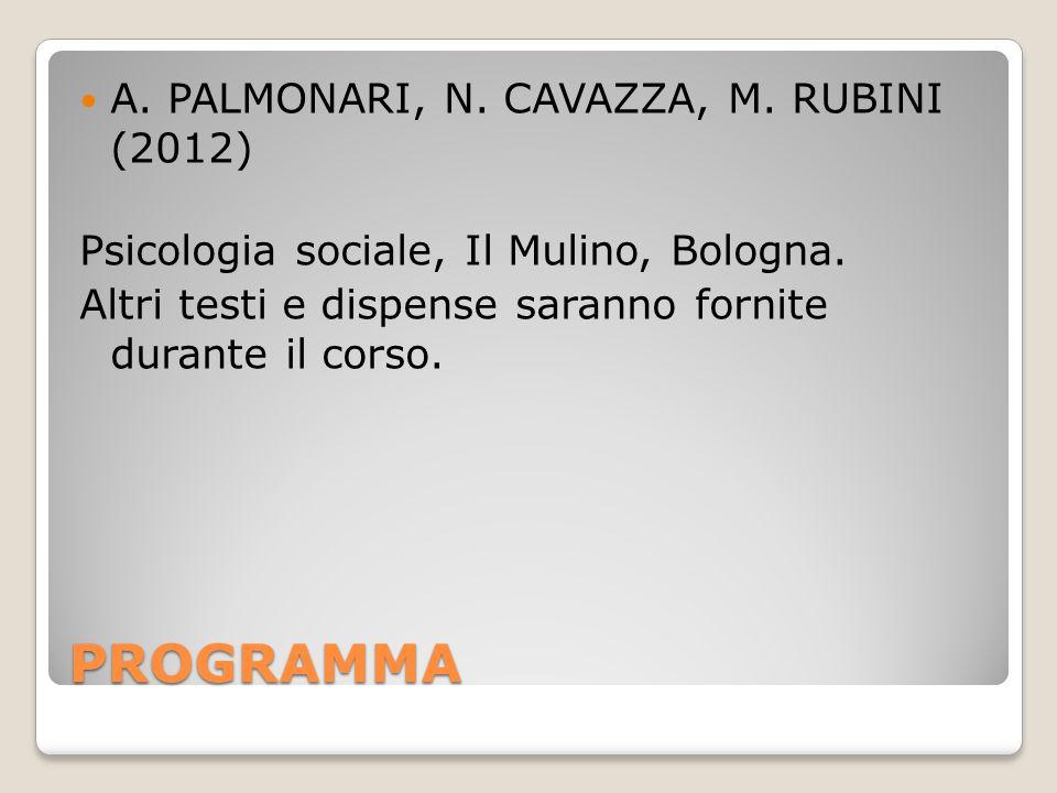 PROGRAMMA A.PALMONARI, N. CAVAZZA, M. RUBINI (2012) Psicologia sociale, Il Mulino, Bologna.
