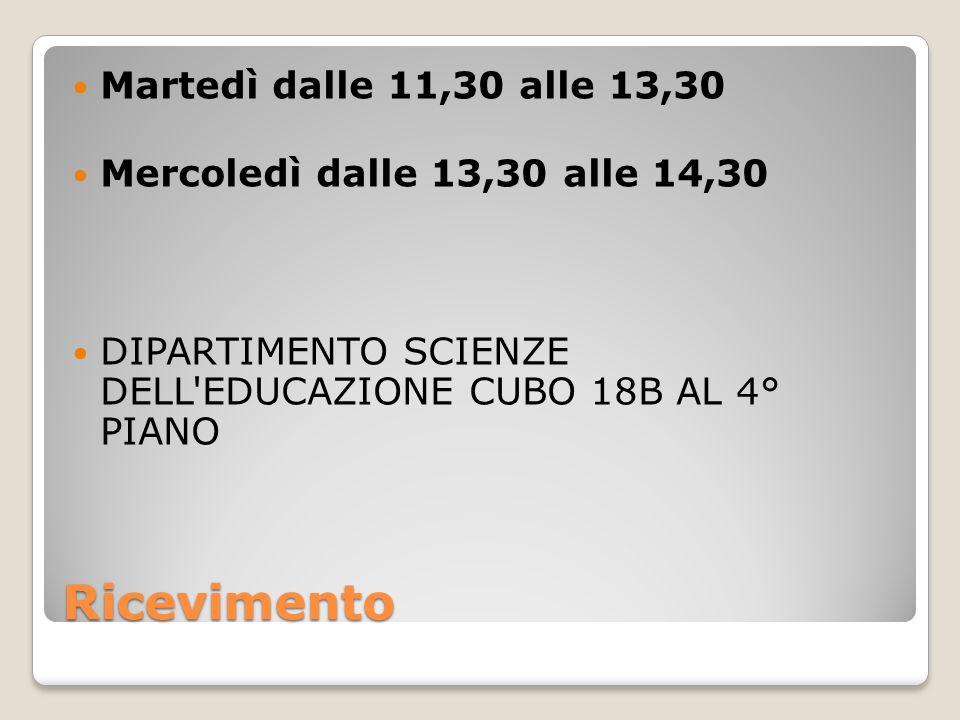 Ricevimento Martedì dalle 11,30 alle 13,30 Mercoledì dalle 13,30 alle 14,30 DIPARTIMENTO SCIENZE DELL EDUCAZIONE CUBO 18B AL 4° PIANO