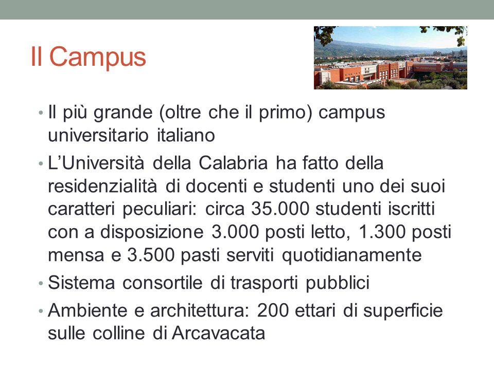 Il più grande (oltre che il primo) campus universitario italiano L'Università della Calabria ha fatto della residenzialità di docenti e studenti uno dei suoi caratteri peculiari: circa 35.000 studenti iscritti con a disposizione 3.000 posti letto, 1.300 posti mensa e 3.500 pasti serviti quotidianamente Sistema consortile di trasporti pubblici Ambiente e architettura: 200 ettari di superficie sulle colline di Arcavacata