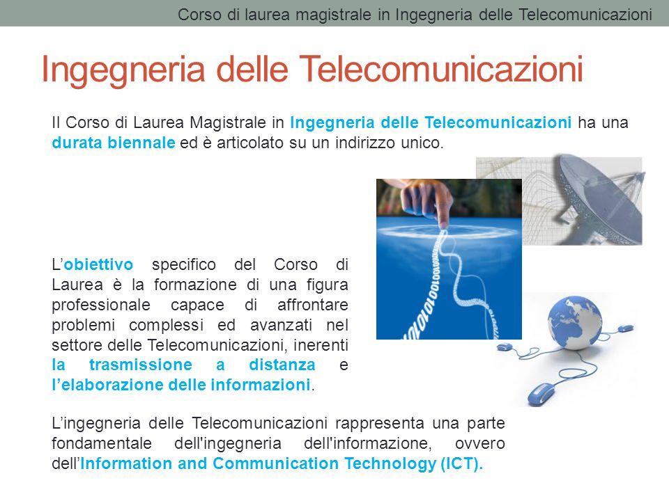 Ingegneria delle Telecomunicazioni L'obiettivo specifico del Corso di Laurea è la formazione di una figura professionale capace di affrontare problemi complessi ed avanzati nel settore delle Telecomunicazioni, inerenti la trasmissione a distanza e l'elaborazione delle informazioni.