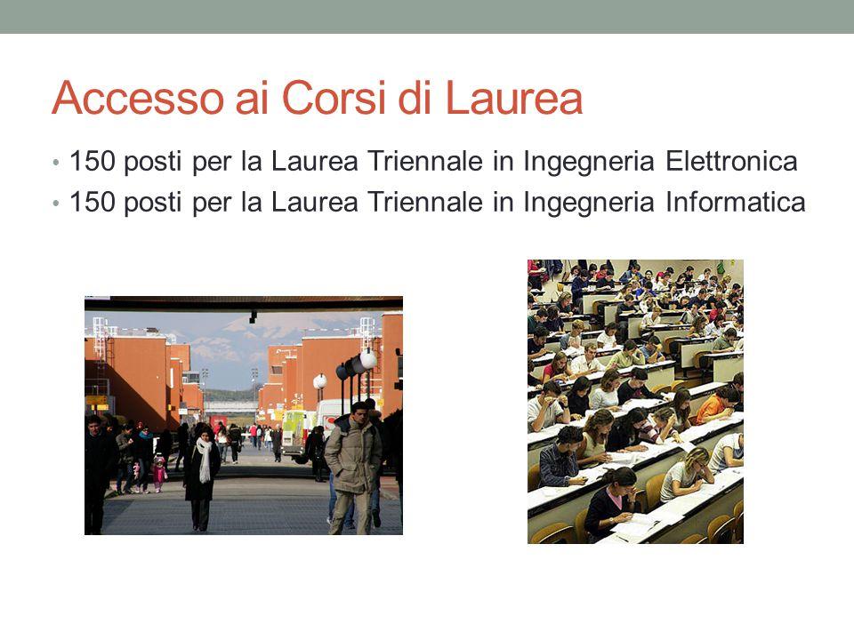 Accesso ai Corsi di Laurea 150 posti per la Laurea Triennale in Ingegneria Elettronica 150 posti per la Laurea Triennale in Ingegneria Informatica