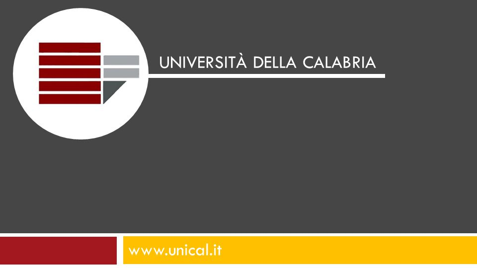 www.unical.it UNIVERSITÀ DELLA CALABRIA