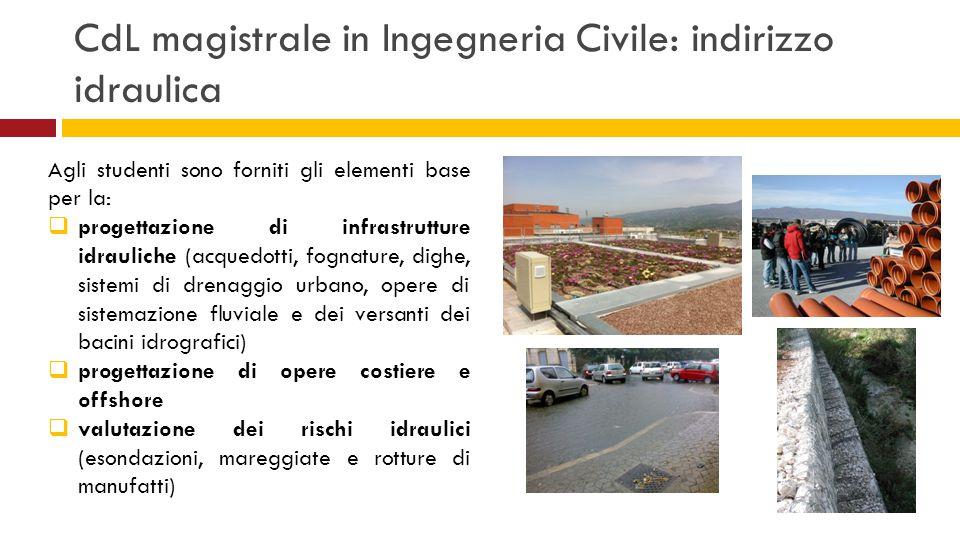 CdL magistrale in Ingegneria Civile: indirizzo idraulica Agli studenti sono forniti gli elementi base per la:  progettazione di infrastrutture idraul