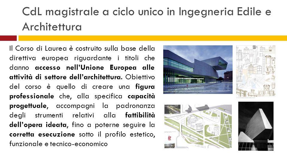 CdL magistrale a ciclo unico in Ingegneria Edile e Architettura Il Corso di Laurea è costruito sulla base della direttiva europea riguardante i titoli