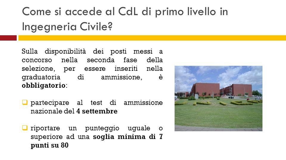 Come si accede al CdL di primo livello in Ingegneria Civile? Sulla disponibilità dei posti messi a concorso nella seconda fase della selezione, per es