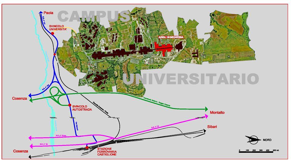 Come raggiungere il Campus  Al Campus di Arcavacata si può accedere in quattro diversi modi, a seconda del mezzo di trasporto:  In auto: Prendere l'