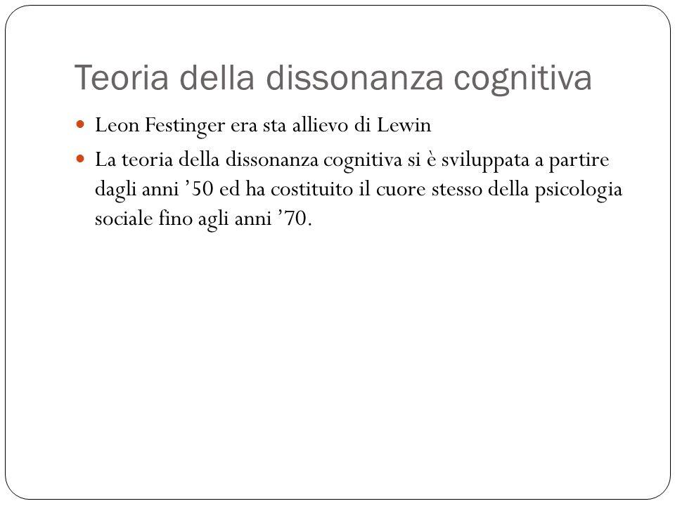 Teoria della dissonanza cognitiva Leon Festinger era sta allievo di Lewin La teoria della dissonanza cognitiva si è sviluppata a partire dagli anni '50 ed ha costituito il cuore stesso della psicologia sociale fino agli anni '70.