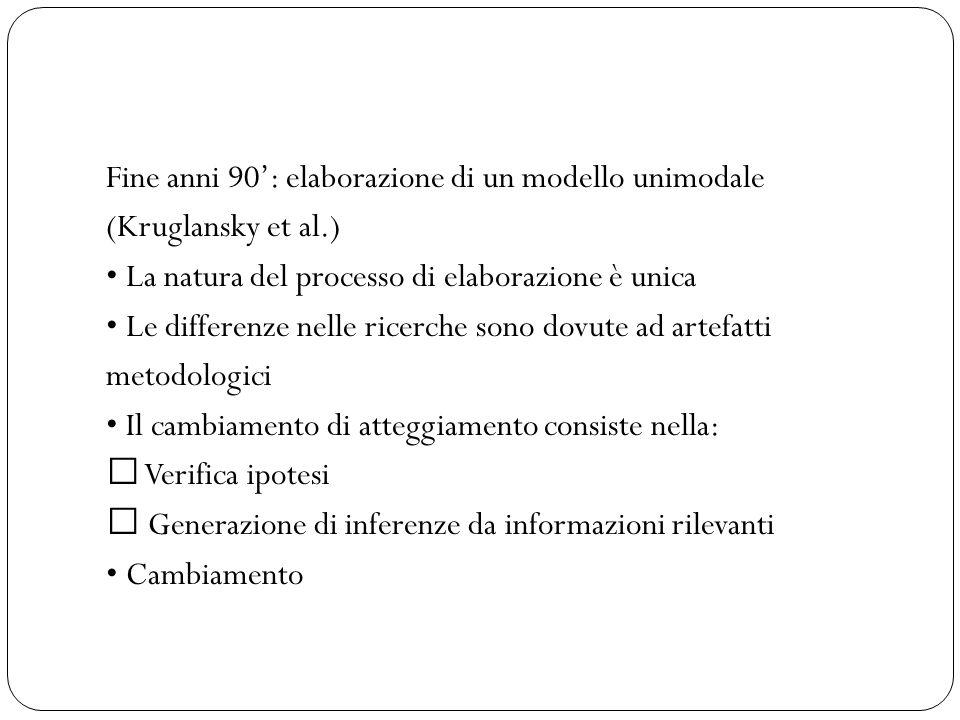 Fine anni 90': elaborazione di un modello unimodale (Kruglansky et al.) La natura del processo di elaborazione è unica Le differenze nelle ricerche sono dovute ad artefatti metodologici Il cambiamento di atteggiamento consiste nella:  Verifica ipotesi  Generazione di inferenze da informazioni rilevanti Cambiamento