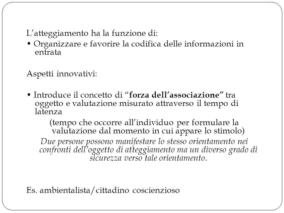 """L'atteggiamento ha la funzione di: Organizzare e favorire la codifica delle informazioni in entrata Aspetti innovativi: Introduce il concetto di """" for"""