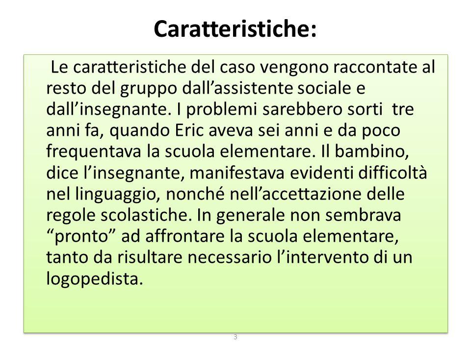 Caratteristiche: Le caratteristiche del caso vengono raccontate al resto del gruppo dall'assistente sociale e dall'insegnante. I problemi sarebbero so