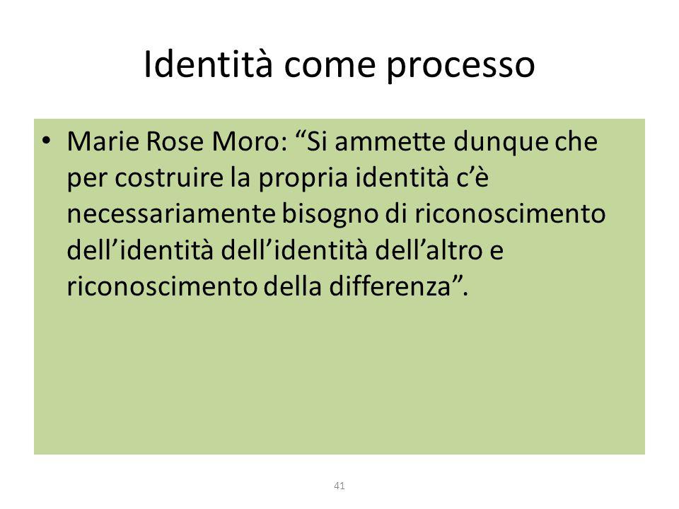 """Identità come processo Marie Rose Moro: """"Si ammette dunque che per costruire la propria identità c'è necessariamente bisogno di riconoscimento dell'id"""