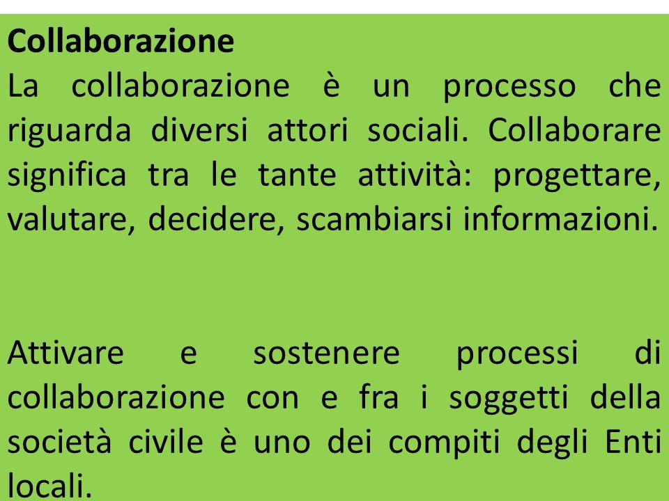 Collaborazione La collaborazione è un processo che riguarda diversi attori sociali. Collaborare significa tra le tante attività: progettare, valutare,