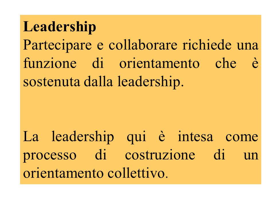Leadership Partecipare e collaborare richiede una funzione di orientamento che è sostenuta dalla leadership. La leadership qui è intesa come processo