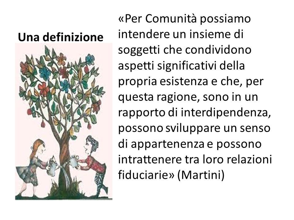 Una definizione «Per Comunità possiamo intendere un insieme di soggetti che condividono aspetti significativi della propria esistenza e che, per quest