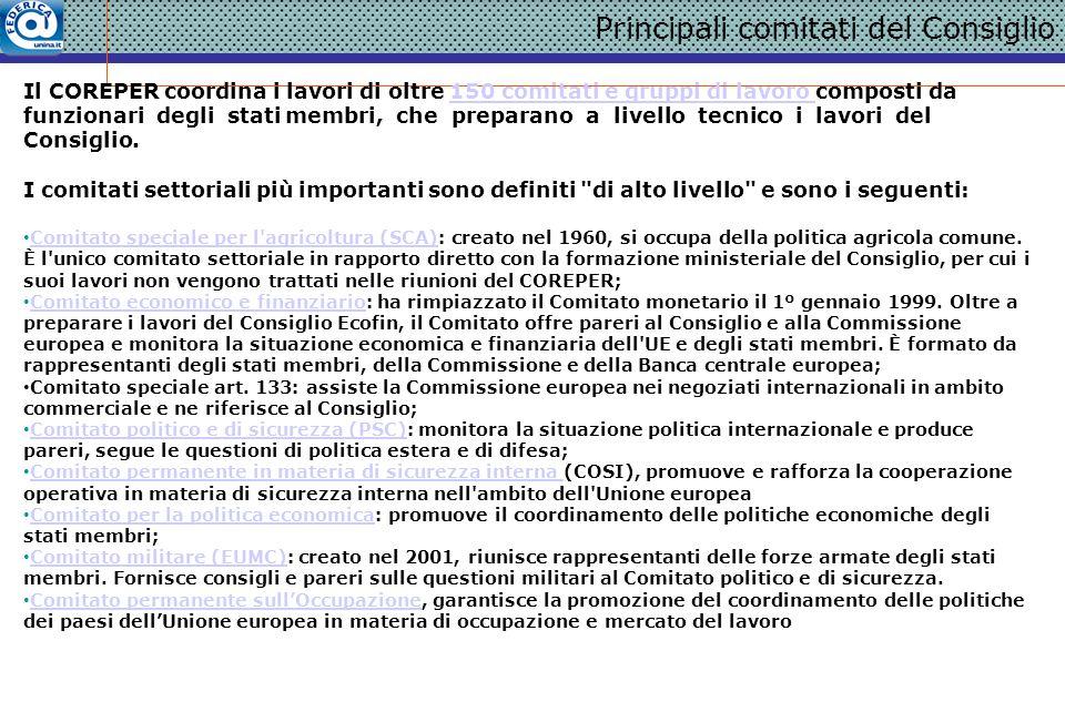 Il COREPER è il Comitato dei rappresentanti permanenti.