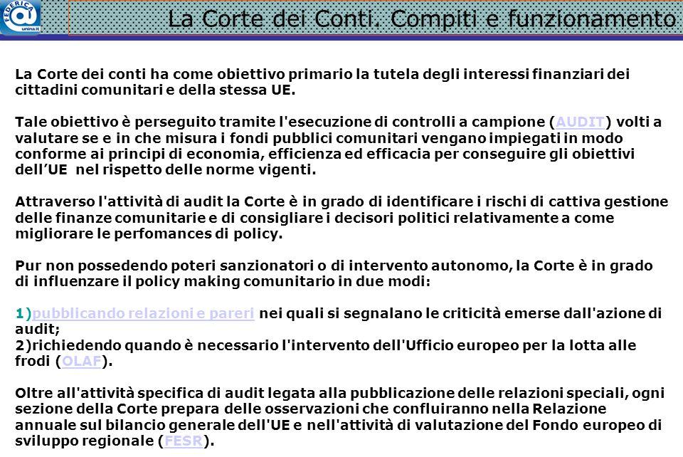 La Corte dei Conti. Compiti e funzionamento La Corte dei conti ha come obiettivo primario la tutela degli interessi finanziari dei cittadini comunitar