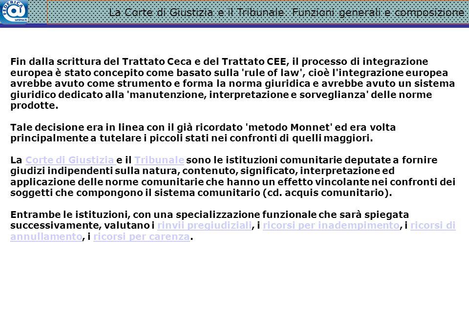 La Corte di Giustizia e il Tribunale. Funzioni generali e composizione Fin dalla scrittura del Trattato Ceca e del Trattato CEE, il processo di integr