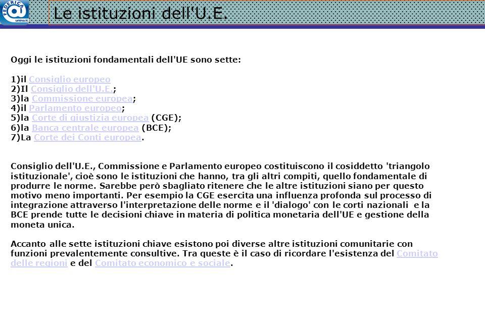 Le istituzioni dell'U.E. Oggi le istituzioni fondamentali dell'UE sono sette: 1)il Consiglio europeoConsiglio europeo 2)Il Consiglio dell'U.E.;Consigl