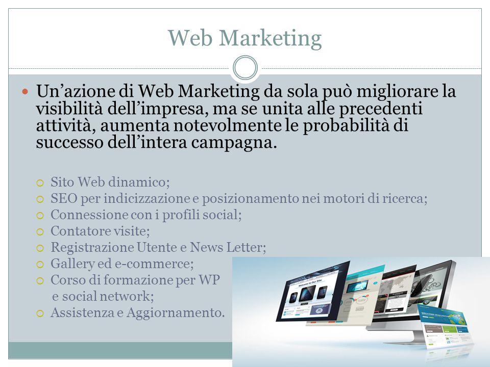 Web Marketing Un'azione di Web Marketing da sola può migliorare la visibilità dell'impresa, ma se unita alle precedenti attività, aumenta notevolmente le probabilità di successo dell'intera campagna.