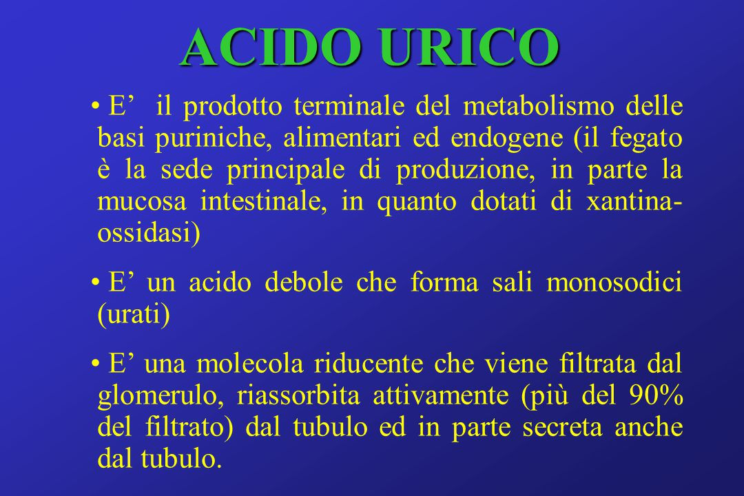 ACIDO URICO E' il prodotto terminale del metabolismo delle basi puriniche, alimentari ed endogene (il fegato è la sede principale di produzione, in parte la mucosa intestinale, in quanto dotati di xantina- ossidasi) E' un acido debole che forma sali monosodici (urati) E' una molecola riducente che viene filtrata dal glomerulo, riassorbita attivamente (più del 90% del filtrato) dal tubulo ed in parte secreta anche dal tubulo.