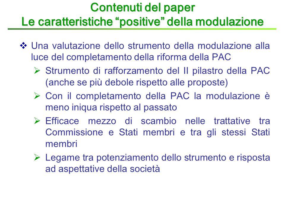  Una valutazione dello strumento della modulazione alla luce del completamento della riforma della PAC  Strumento di rafforzamento del II pilastro d