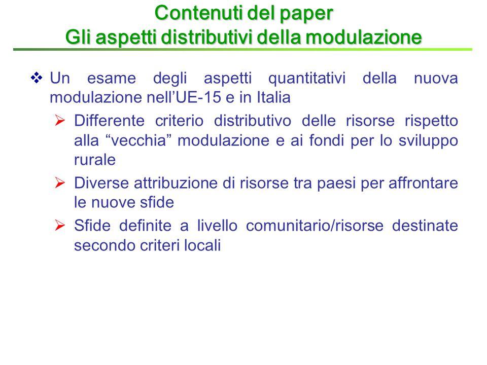 """ Un esame degli aspetti quantitativi della nuova modulazione nell'UE-15 e in Italia  Differente criterio distributivo delle risorse rispetto alla """"v"""