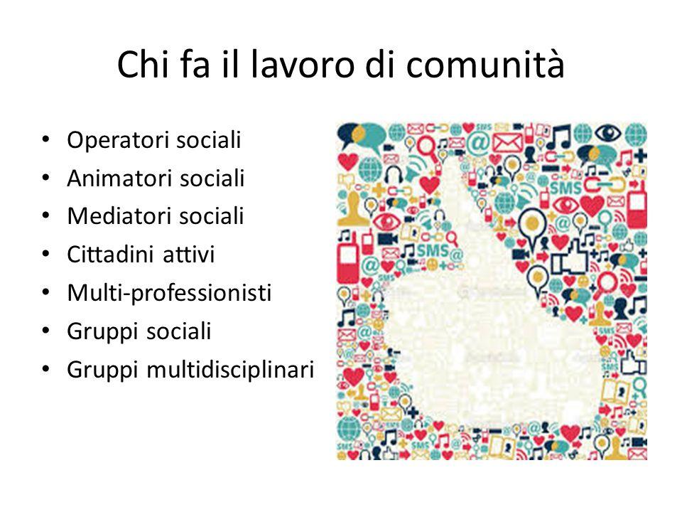 Chi fa il lavoro di comunità Operatori sociali Animatori sociali Mediatori sociali Cittadini attivi Multi-professionisti Gruppi sociali Gruppi multidisciplinari