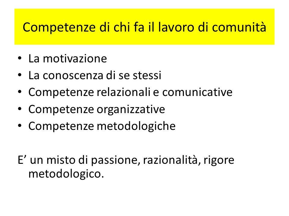 Competenze di chi fa il lavoro di comunità La motivazione La conoscenza di se stessi Competenze relazionali e comunicative Competenze organizzative Co