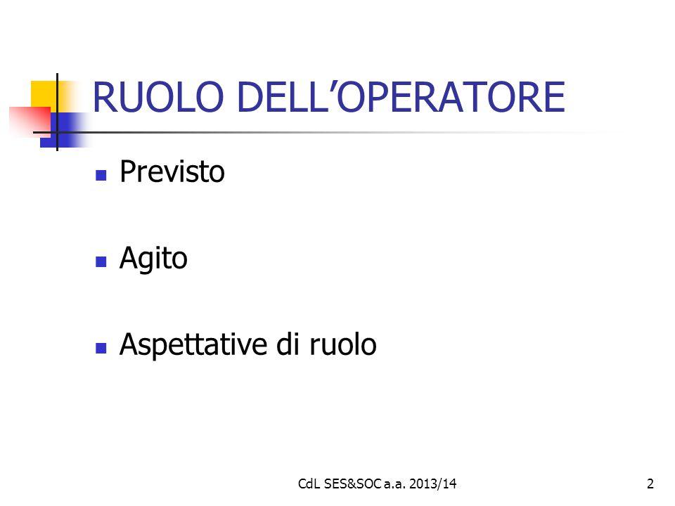 2 RUOLO DELL'OPERATORE Previsto Agito Aspettative di ruolo CdL SES&SOC a.a. 2013/14