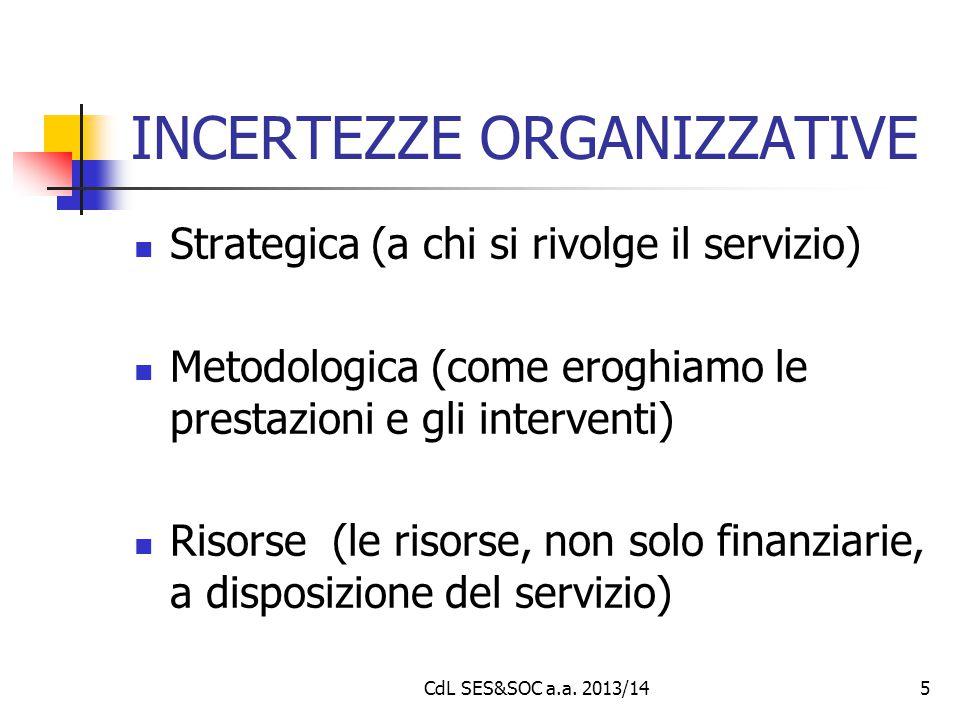 5 INCERTEZZE ORGANIZZATIVE Strategica (a chi si rivolge il servizio) Metodologica (come eroghiamo le prestazioni e gli interventi) Risorse (le risorse