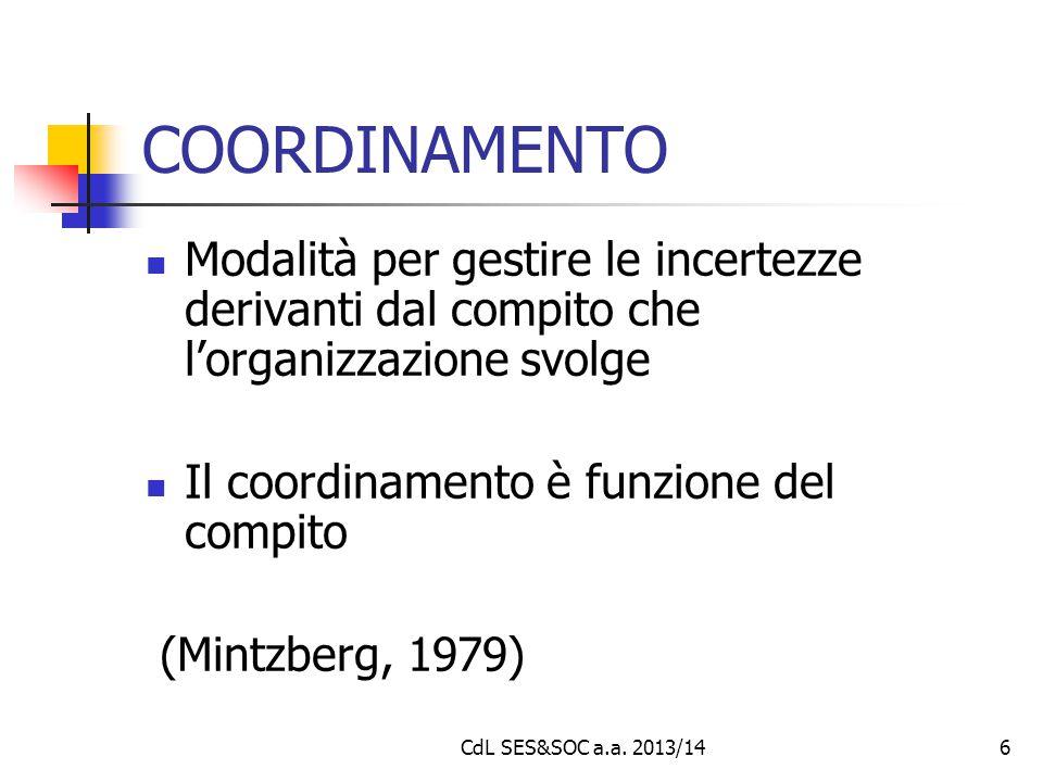 6 COORDINAMENTO Modalità per gestire le incertezze derivanti dal compito che l'organizzazione svolge Il coordinamento è funzione del compito (Mintzber