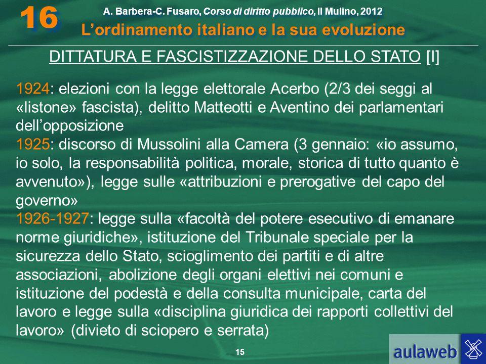 15 A. Barbera-C. Fusaro, Corso di diritto pubblico, Il Mulino, 2012 L'ordinamento italiano e la sua evoluzione A. Barbera-C. Fusaro, Corso di diritto