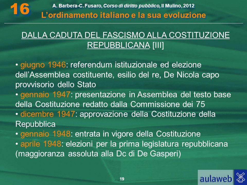 19 A. Barbera-C. Fusaro, Corso di diritto pubblico, Il Mulino, 2012 L'ordinamento italiano e la sua evoluzione A. Barbera-C. Fusaro, Corso di diritto