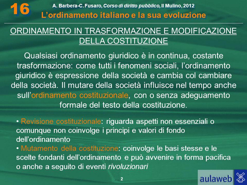 2 A. Barbera-C. Fusaro, Corso di diritto pubblico, Il Mulino, 2012 L'ordinamento italiano e la sua evoluzione A. Barbera-C. Fusaro, Corso di diritto p