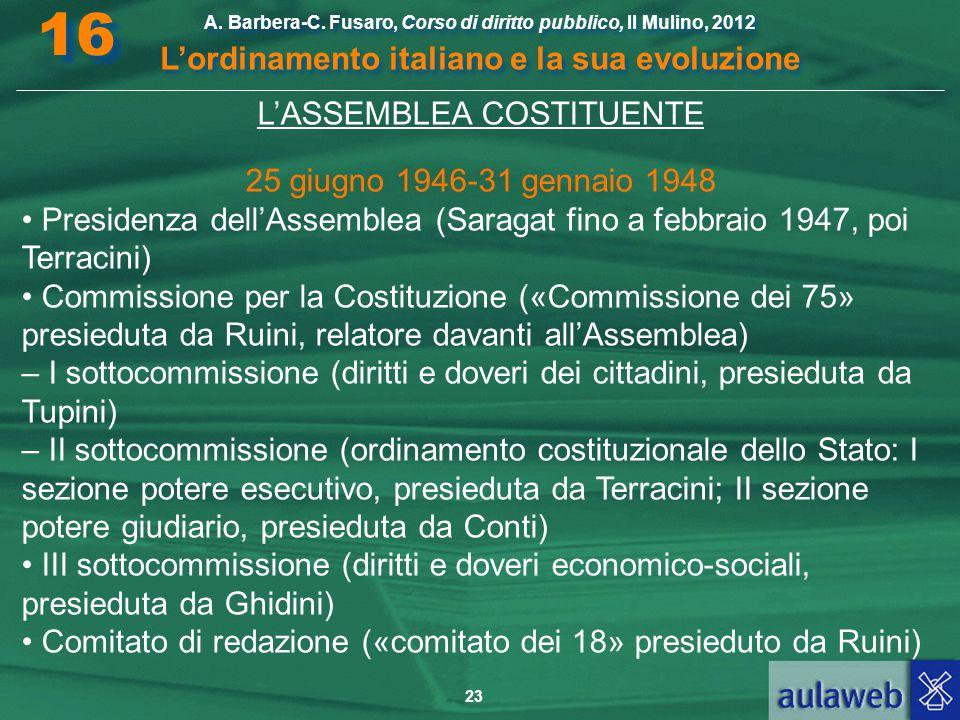 23 A. Barbera-C. Fusaro, Corso di diritto pubblico, Il Mulino, 2012 L'ordinamento italiano e la sua evoluzione A. Barbera-C. Fusaro, Corso di diritto