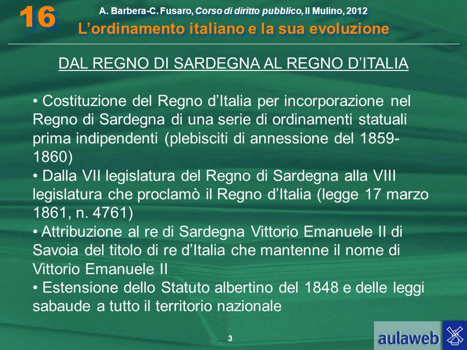 3 A. Barbera-C. Fusaro, Corso di diritto pubblico, Il Mulino, 2012 L'ordinamento italiano e la sua evoluzione A. Barbera-C. Fusaro, Corso di diritto p