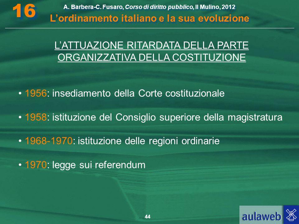 44 A. Barbera-C. Fusaro, Corso di diritto pubblico, Il Mulino, 2012 L'ordinamento italiano e la sua evoluzione A. Barbera-C. Fusaro, Corso di diritto